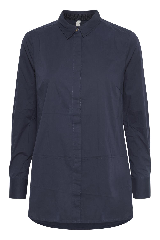 Pulz Elna L/S shirt, marineblå skjorte