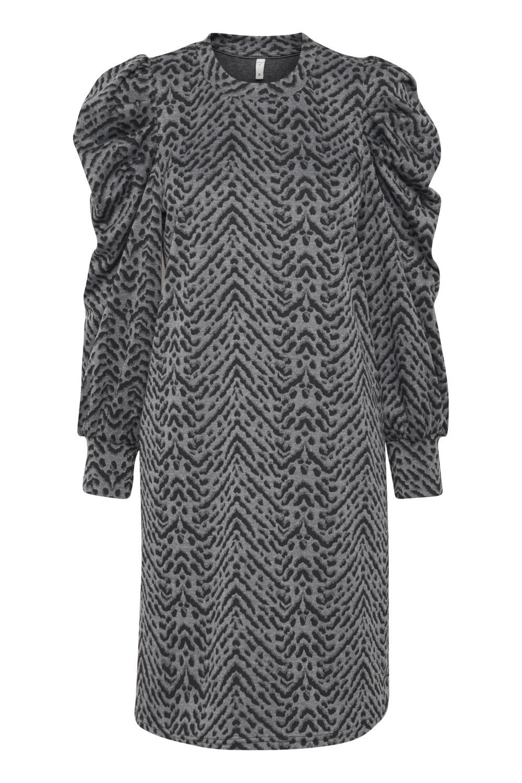 Pulz Dunne dress, grå/sort mønstret kjole