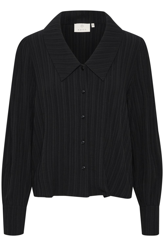 Kaffe Nala shirt, sort/sort stripet skjorte