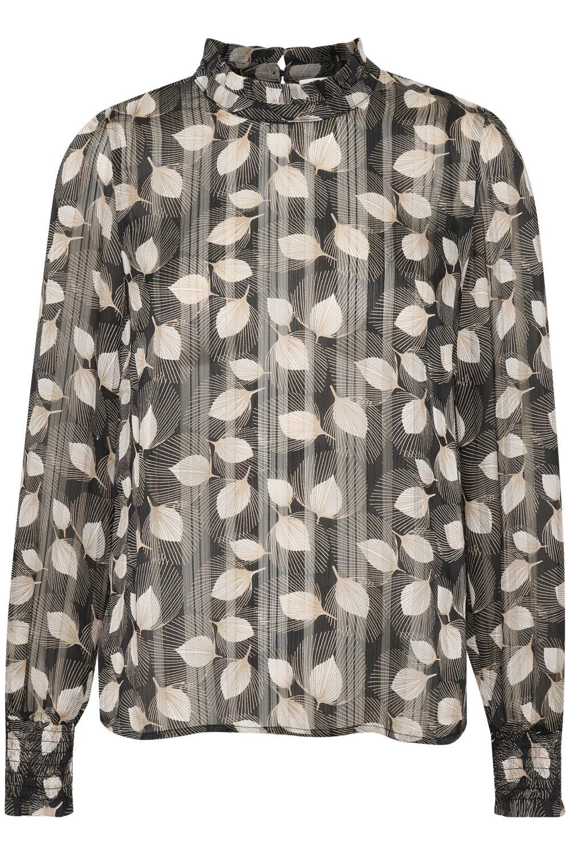 Kaffe Delima sort/mønstret bluse