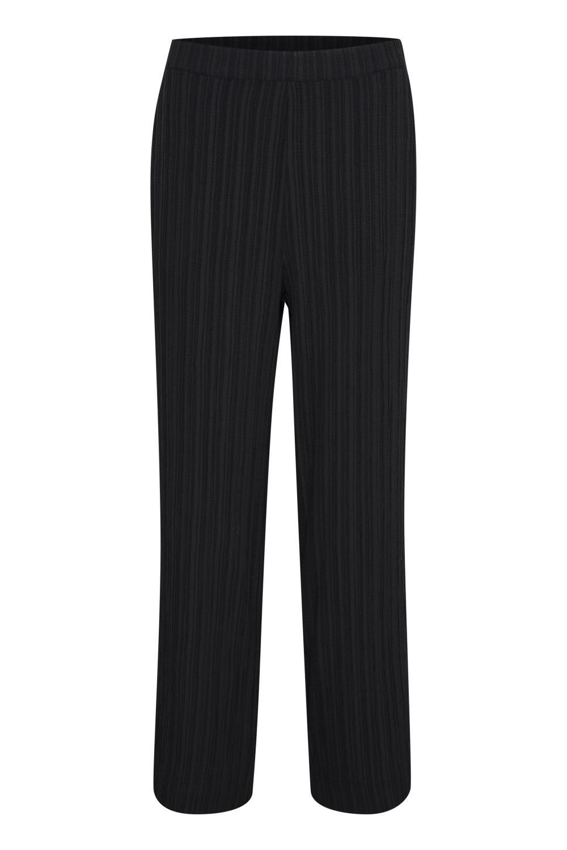 Kaffe Nala wide pants, sort/sort stripet bukse