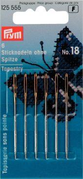 125 555 - PRYM - Brodernåler vev sløv spets No. 18, 6st 50x1,20mm