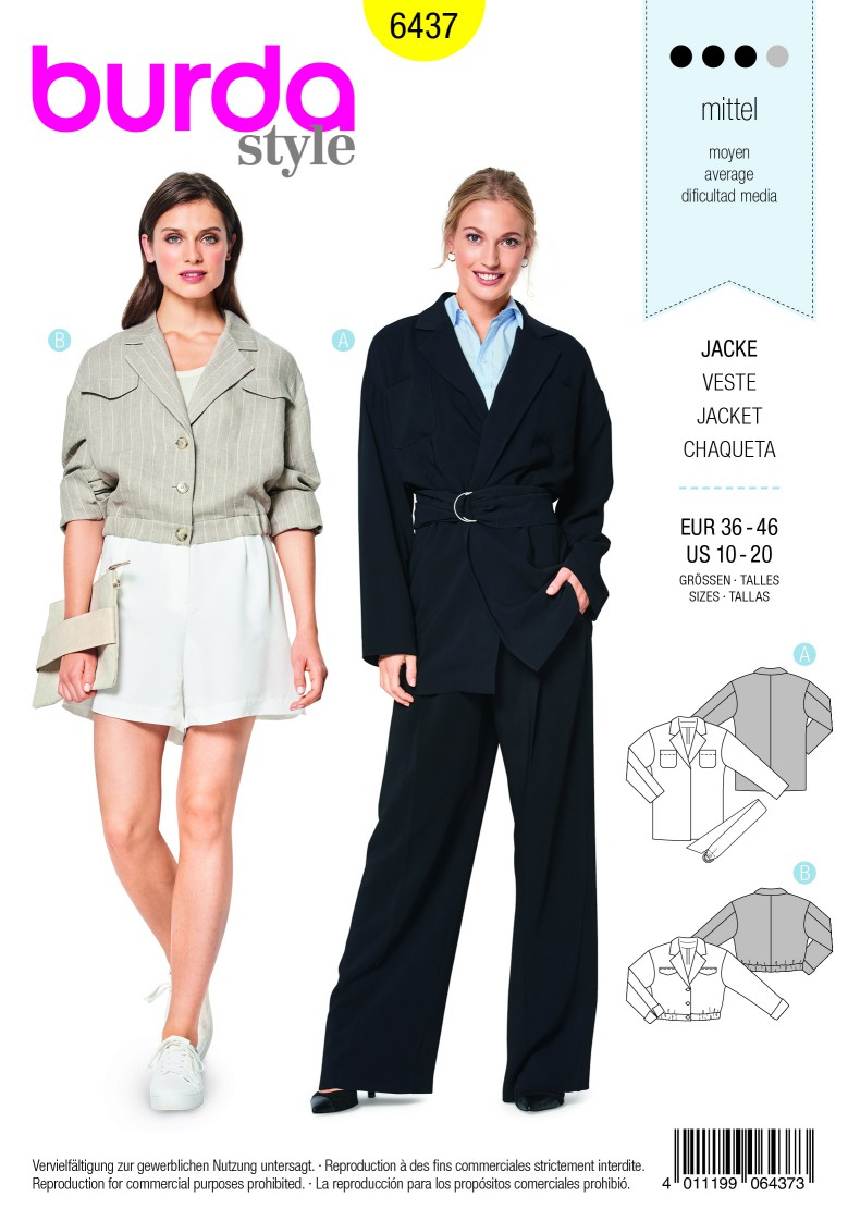 Burda Style Pattern B6437 Women's Blouse and Blazer