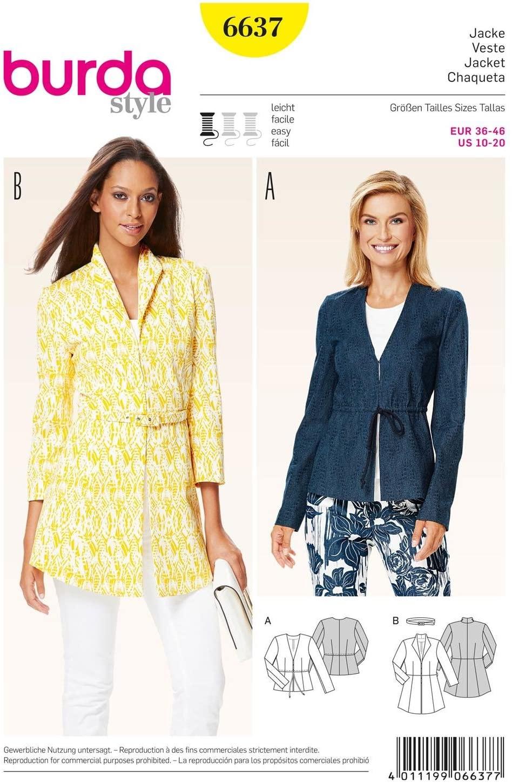 Burda B6637 Women's Jacket Sewing Pattern
