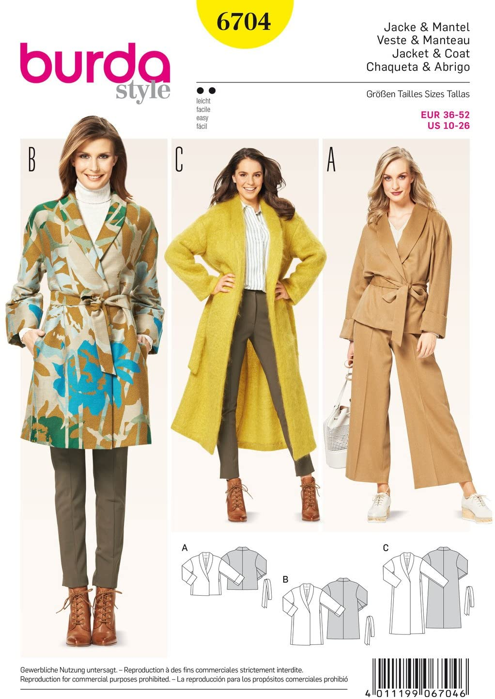 Burda B6704 Women's and Plus Size Coats and Jackets Sewing Pattern