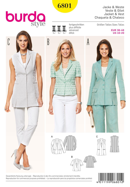 Burda B6801 Jackets, Coats, Vests Sewing Pattern