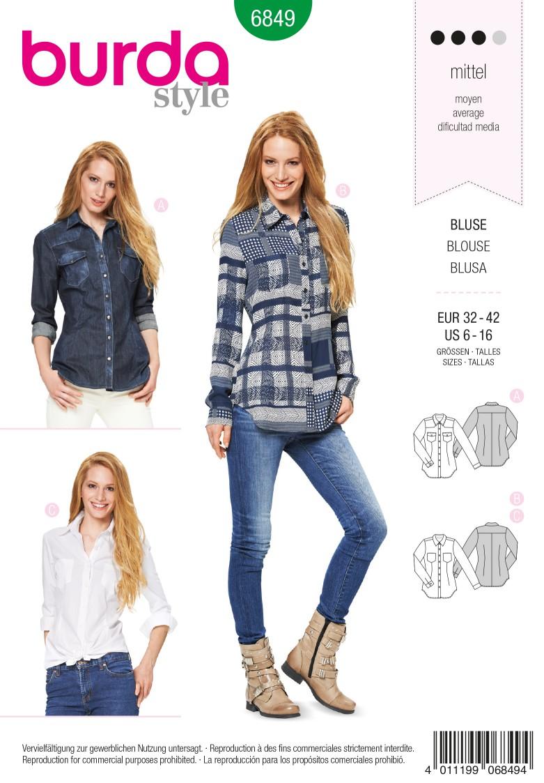 Burda Style B6849 Top, Shirt & Blouse Sewing Pattern