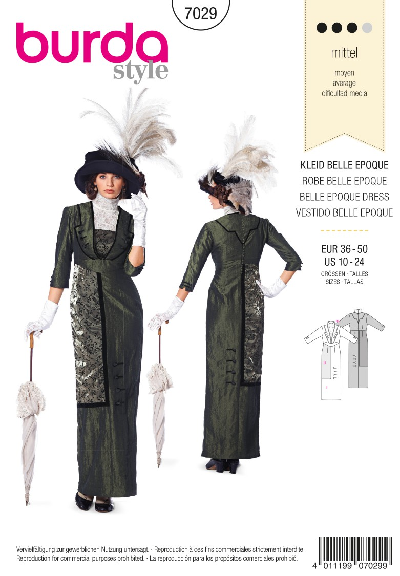 Burda B7029 Burda Style Historical Belle Epoque Dress Sewing Pattern
