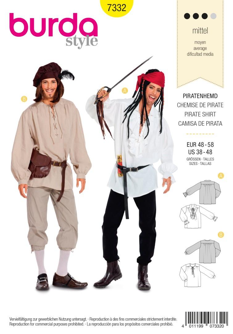 Burda Style B7332 Pirate Shirt Costume Sewing Pattern