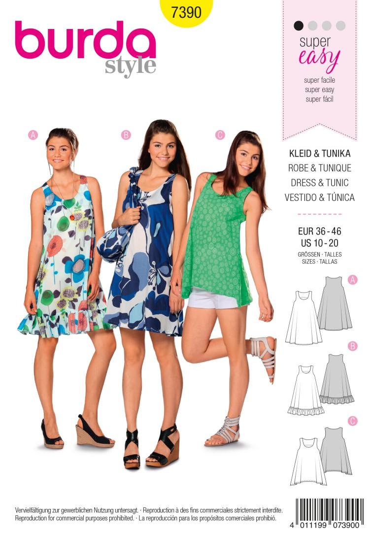 Burda Style B7390 Dress & Tunic Sewing Pattern