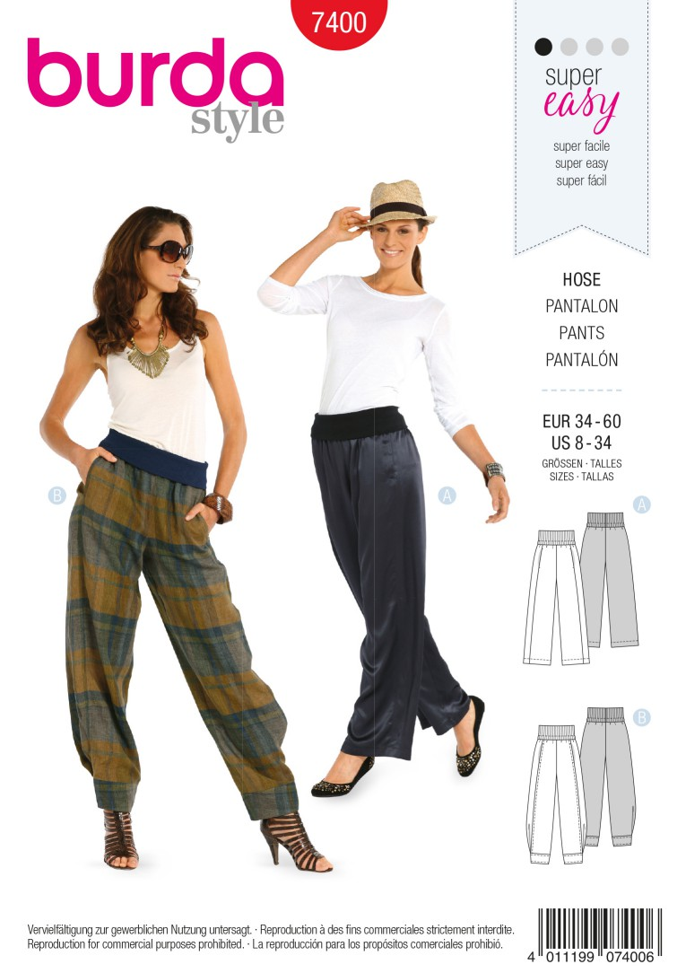 Burda Style B7400 Trousers Sewing Pattern