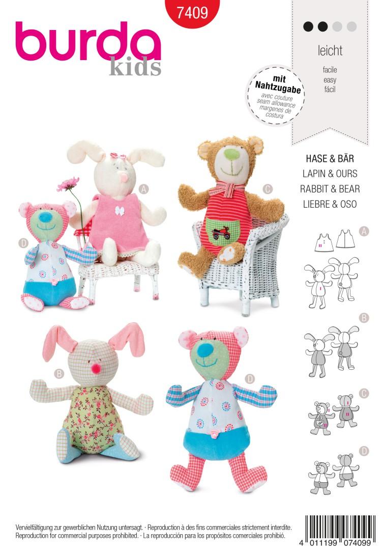 Burda Style B7409 Rabbit & Bear Toy Sewing Pattern