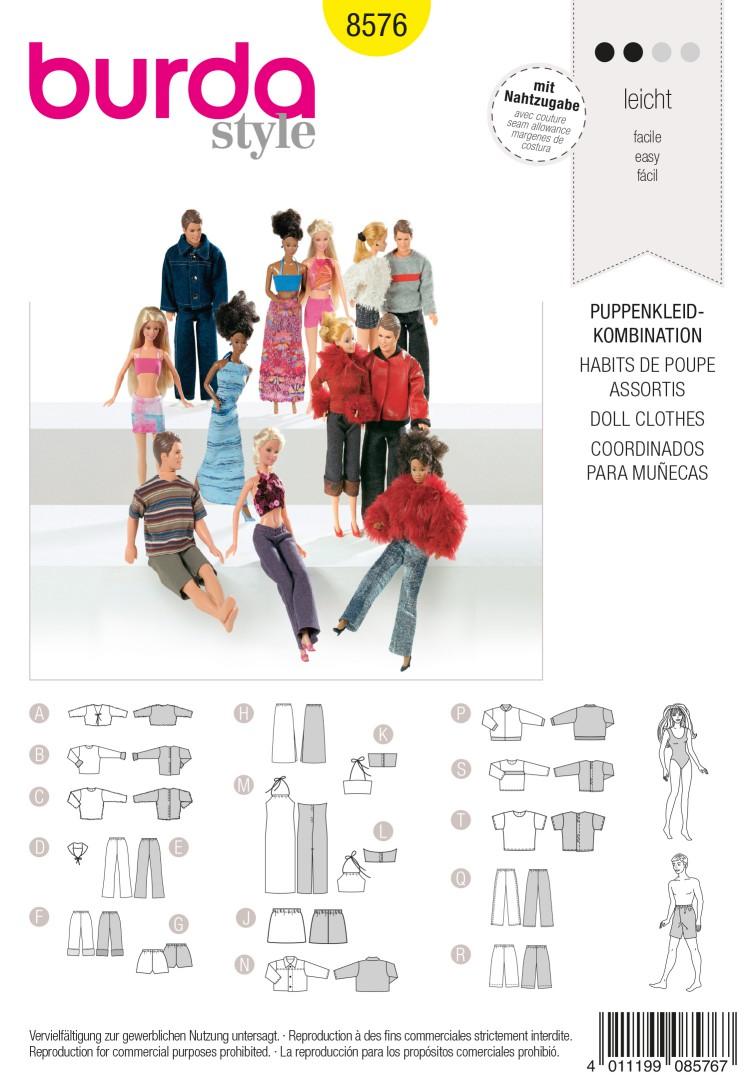 Burda B8576 Doll Clothes Sewing Pattern