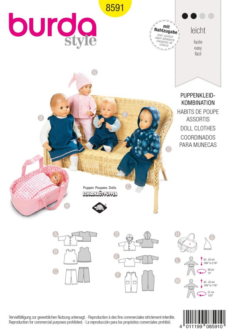 Burda B8591 Doll Clothes Sewing Pattern