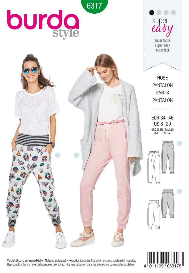 Burda Style Pattern 6317 Misses' jogging pull on pant