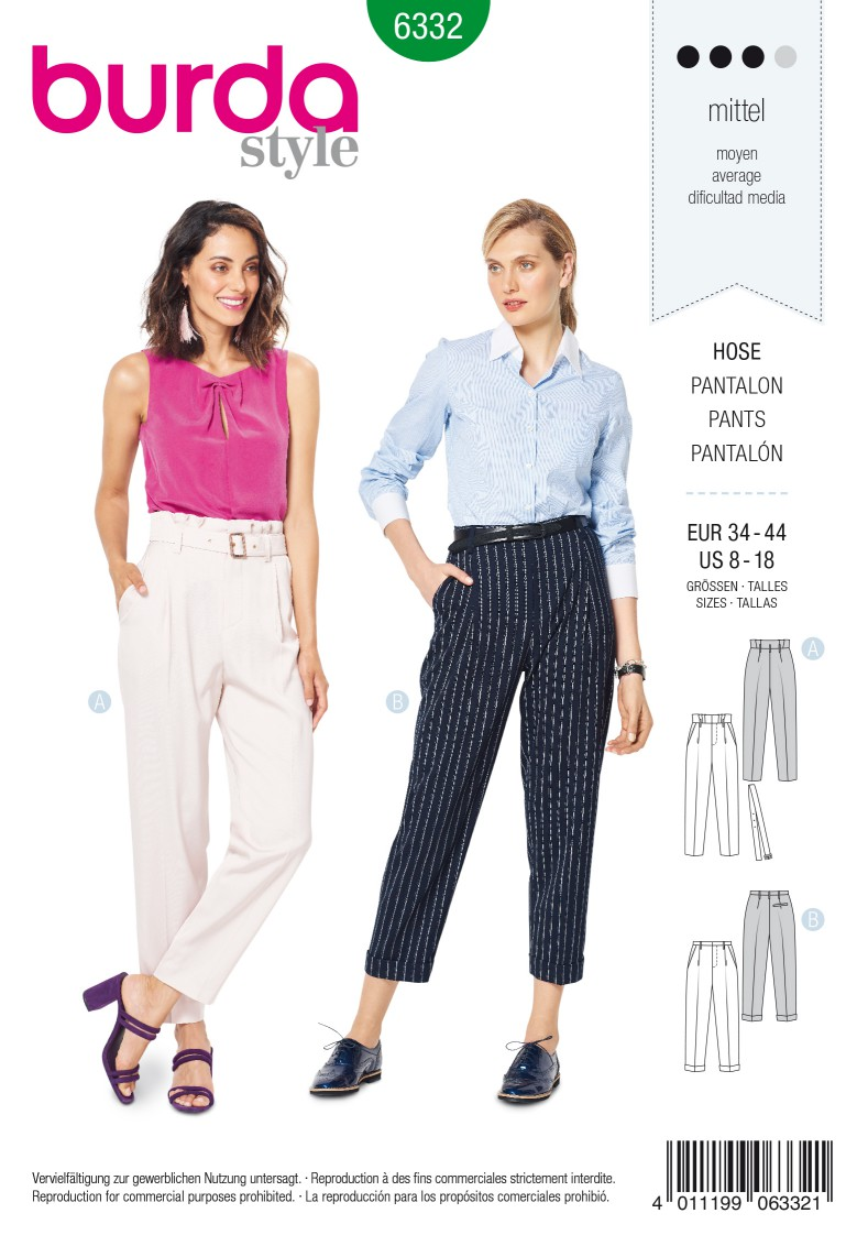 Burda Style Pattern 6332 Misses' highwaisted pants