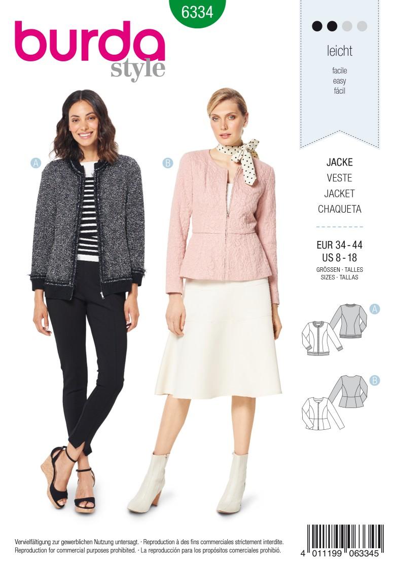 Burda Style Pattern 6334- Misses' peplum jacket