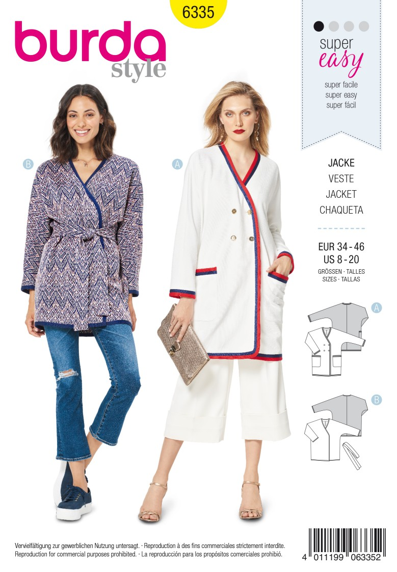 Burda Style Pattern 6335 Misses' jacket with tie belt