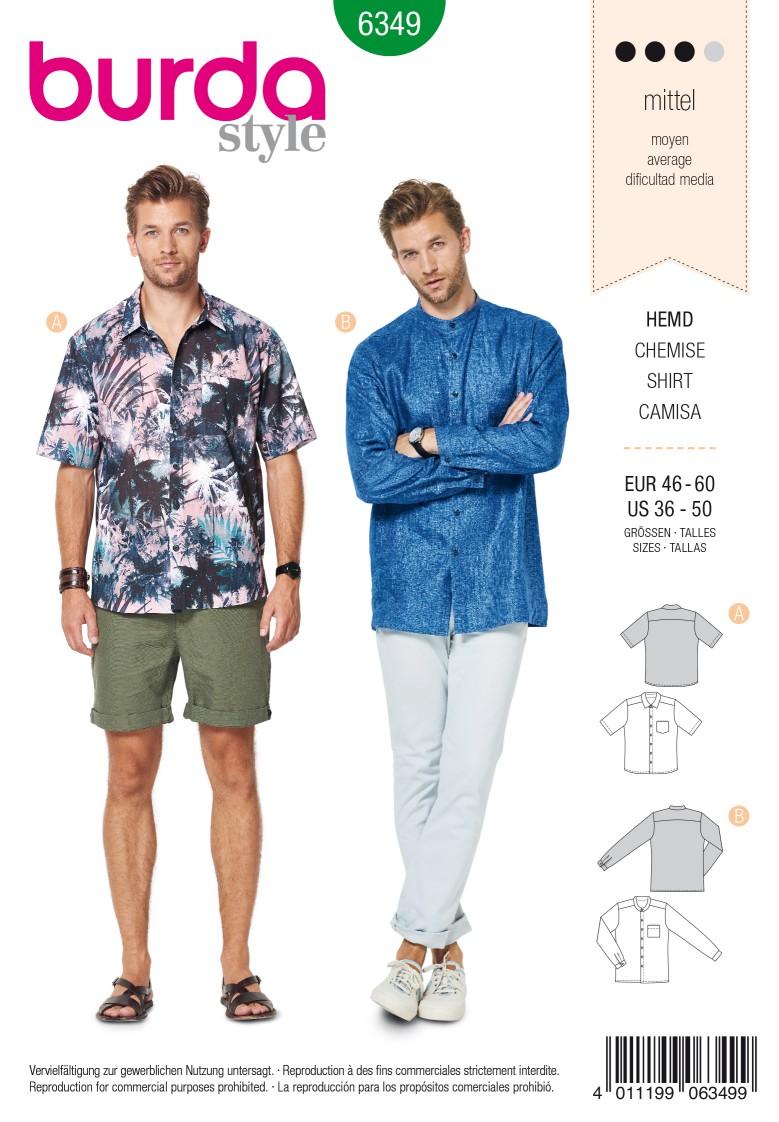 Burda Style Pattern 6349 Men's shirt with collar