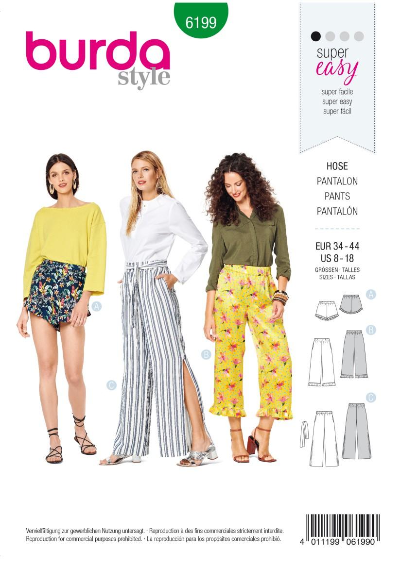 Burda Style Pattern 6199 Misses' Trousers/Pants – Shorts – Elastic Waist – Hem Frills