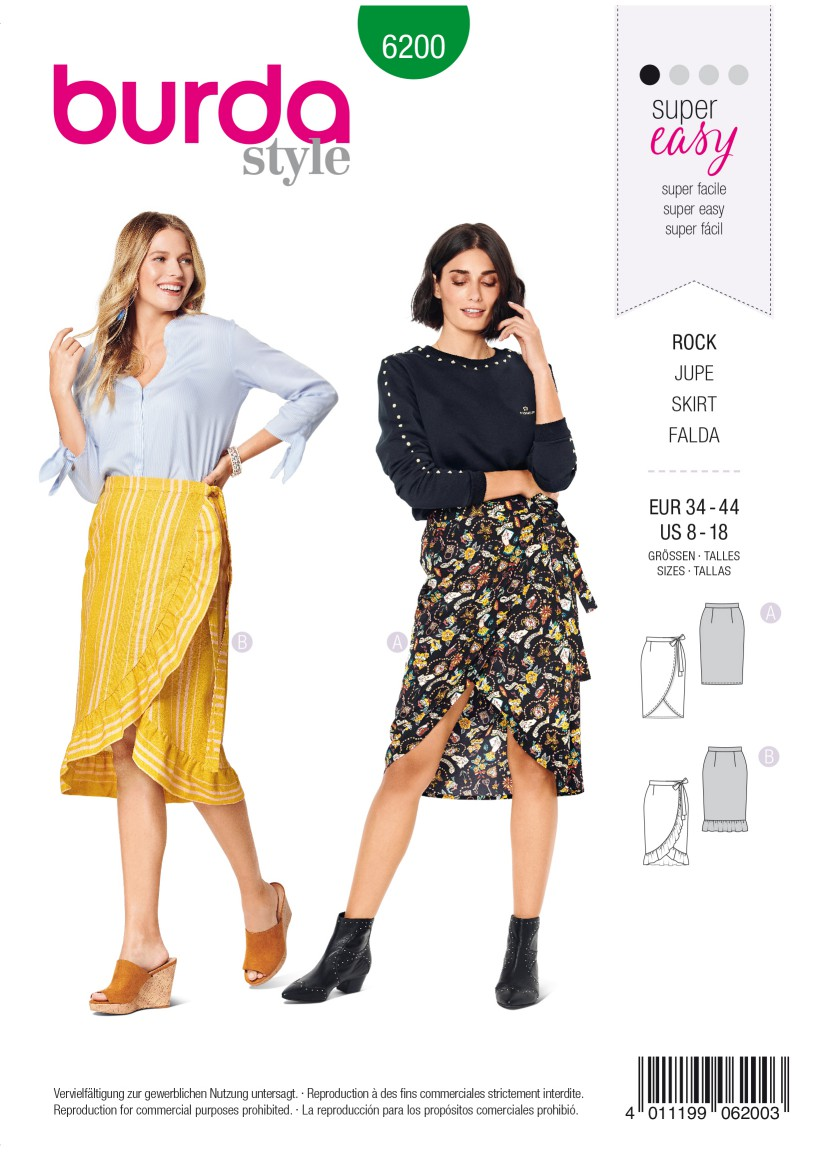 Burda Style Pattern 6200 Misses' Wrap Skirt with Waistband and Tie Bands