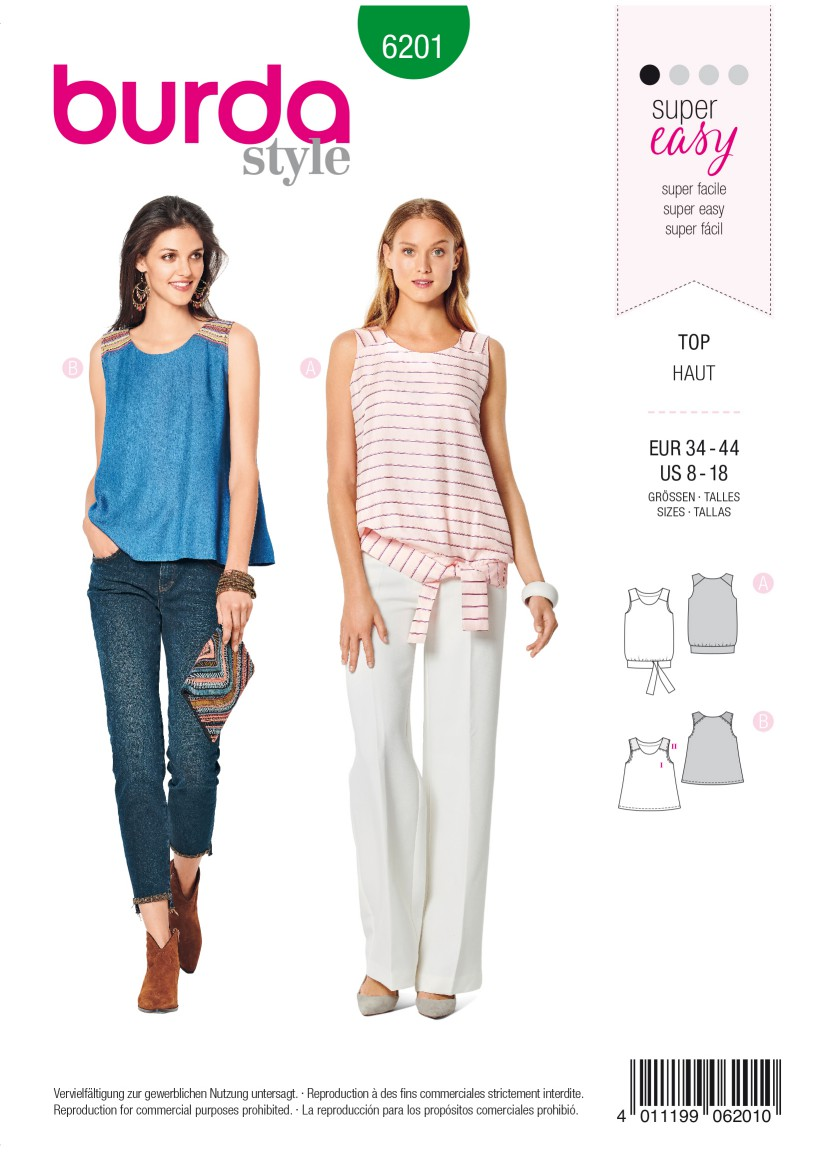Burda Style Pattern 6201 Misses' Tank Top – Flared Form  – with Waistband and Tie Bands