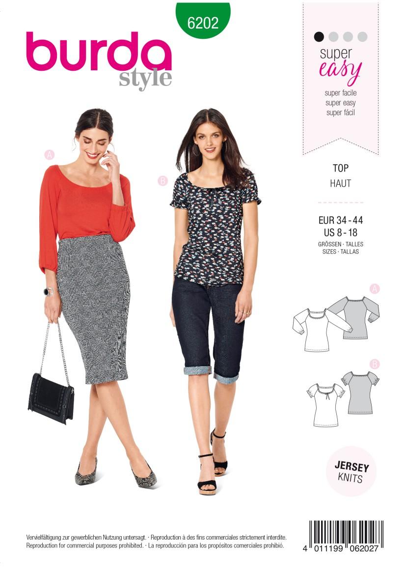 Burda Style Pattern 6202 Misses' Top with Raglan Sleeves –  Ballet Scoop Neck