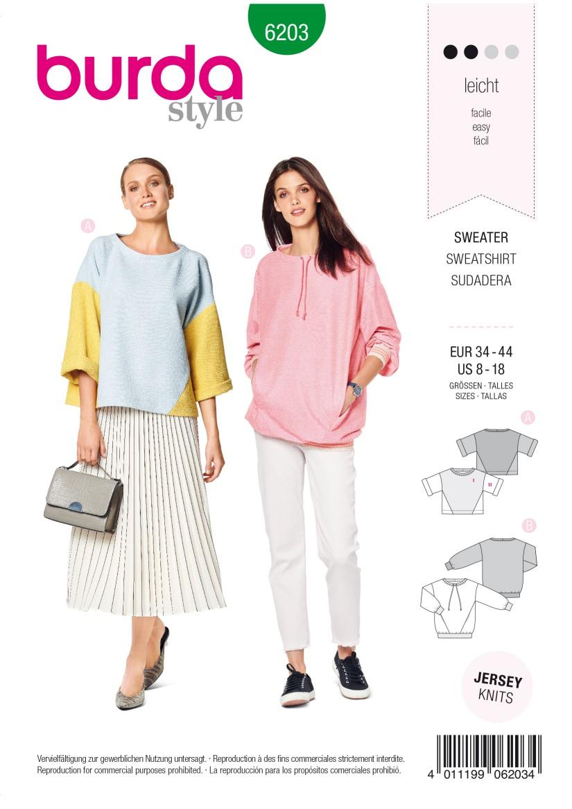 Burda Style Pattern 6203 Misses' Sweatshirt – T-Line – with Interesting Seam Lines