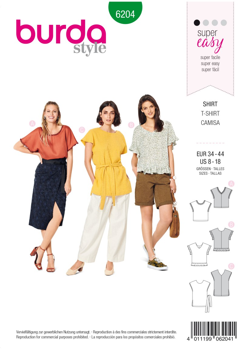 Burda Style Pattern 6204 Misses' Blouse Shirt – Over-cut Shoulders –  V-neck in Front or Back