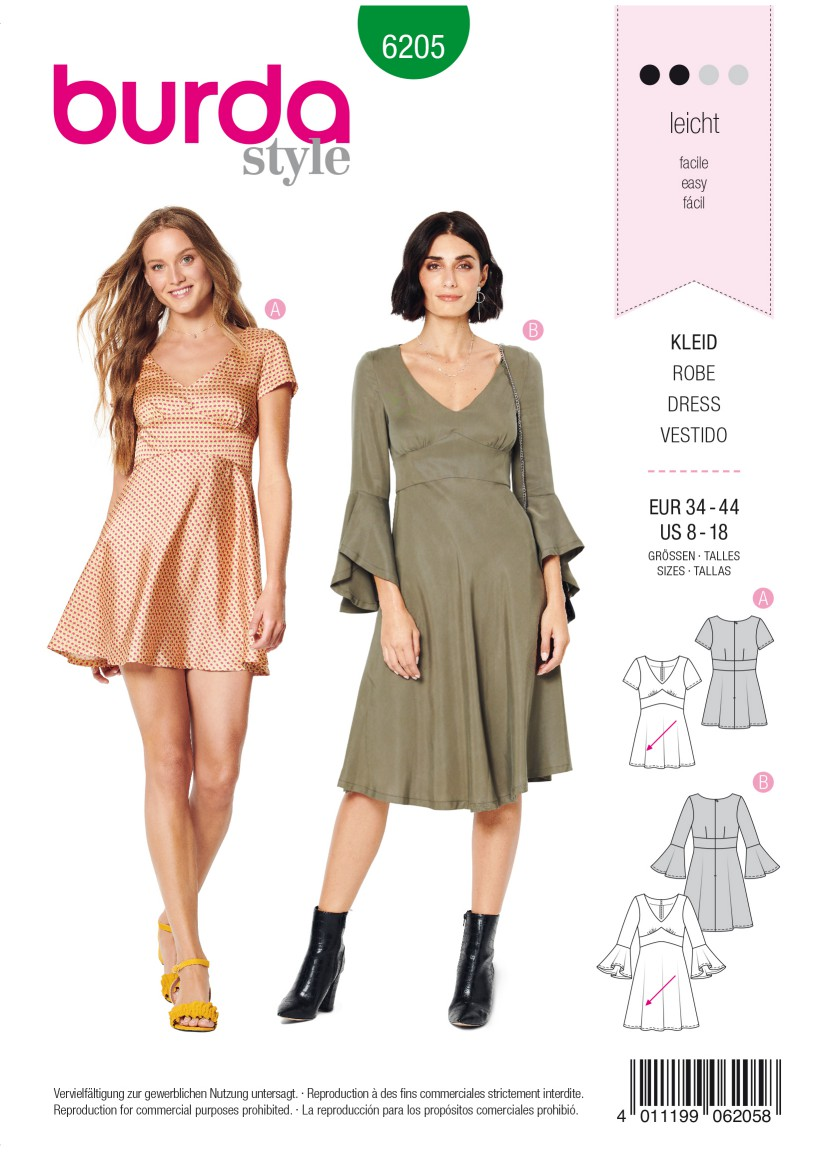 Burda Style Pattern 6205 Misses' Dress with Empire Waist – Bell-shaped Skirt