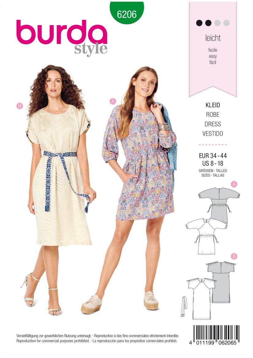 Burda Style Pattern 6206 Misses' Casual Dress with Raglan Sleeves –  Drawstring Waist