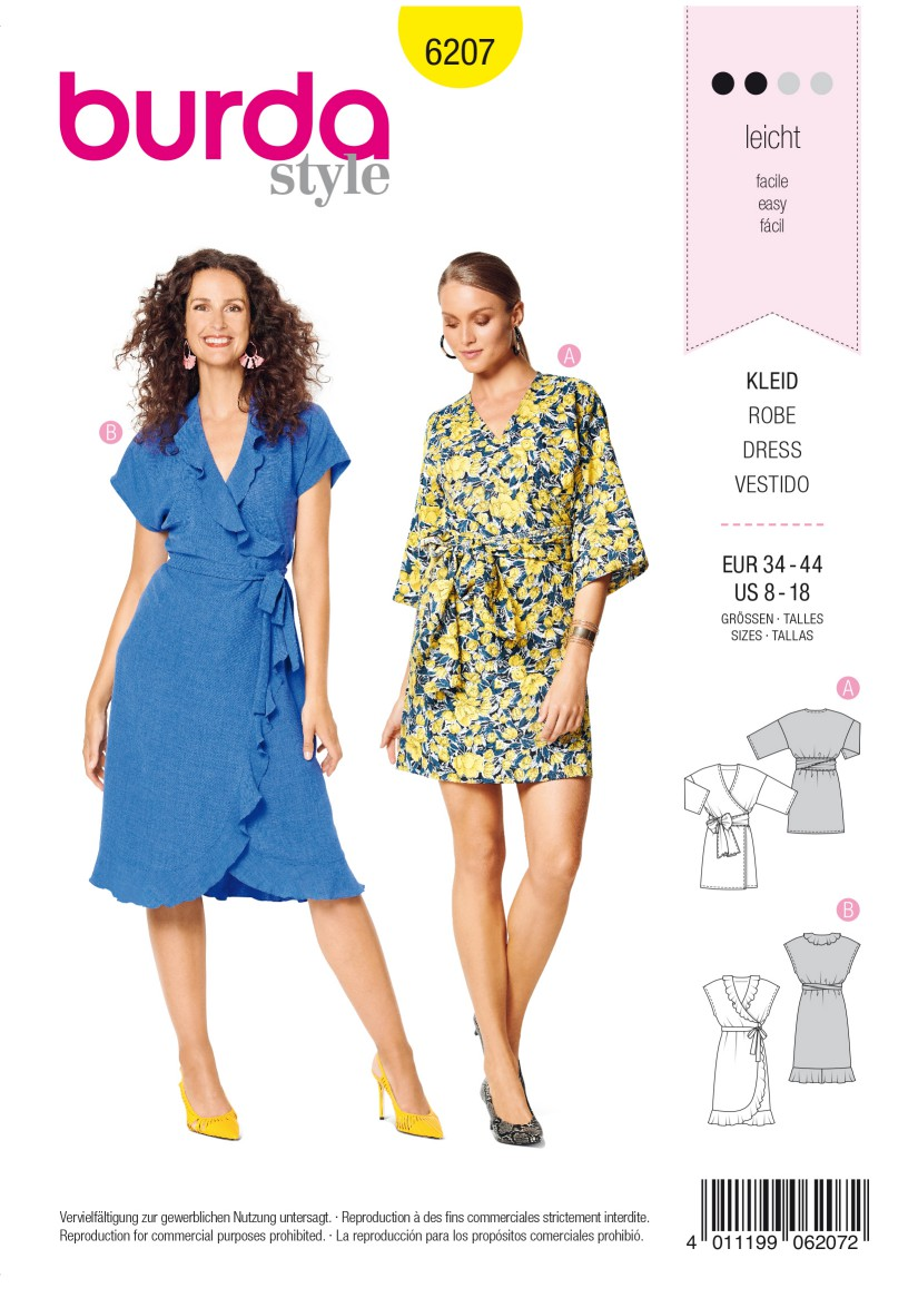 Burda Style Pattern 6207 Misses' Wrap Dress with Tie Bands –  Hem and Neckline Flounces