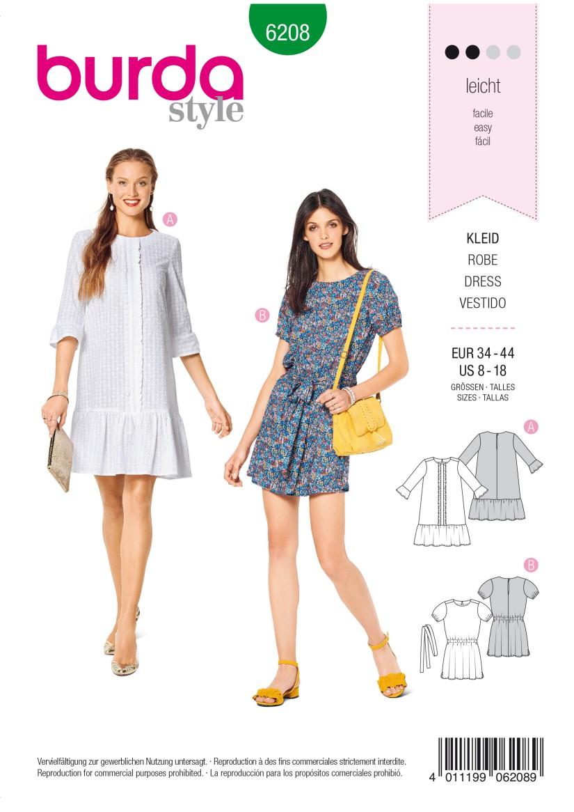 Burda Style Pattern 6208 Misses' Dress – Casual Fit –  Hem Frills