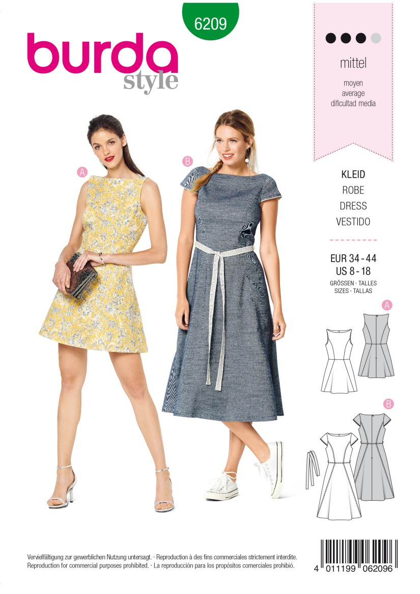 Burda Style Pattern 6209 Misses' Dress with Flared Skirt –  Scooped Neckline