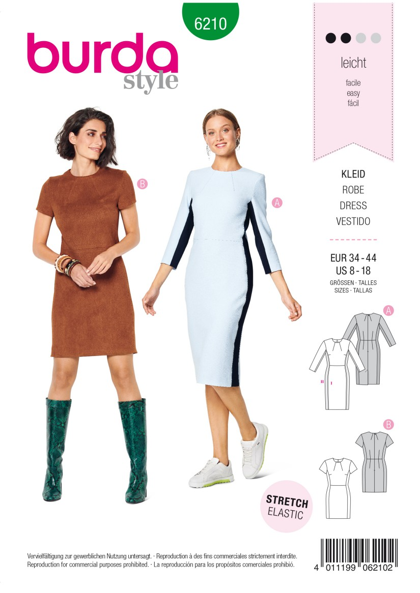 Burda Style Pattern 6210 Misses' Shift Dress with Back Vent