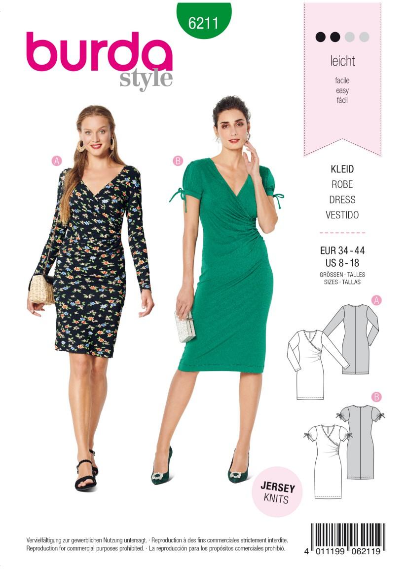 Burda Style Pattern 6211 Misses' Dress in Wrap Look –  Figure Fitting