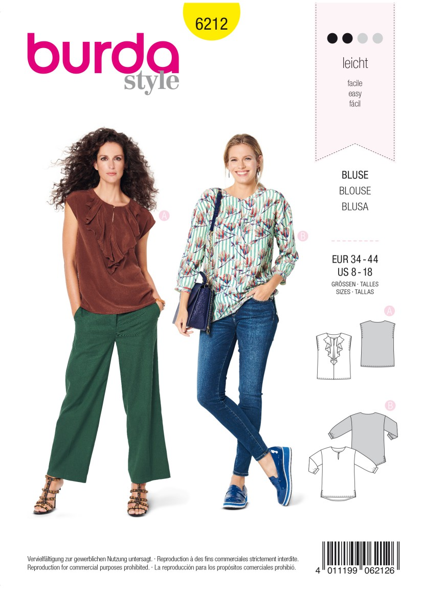 Burda Style Pattern 6212 Misses' Blouse with Neckline Flounce –  Straight Cut