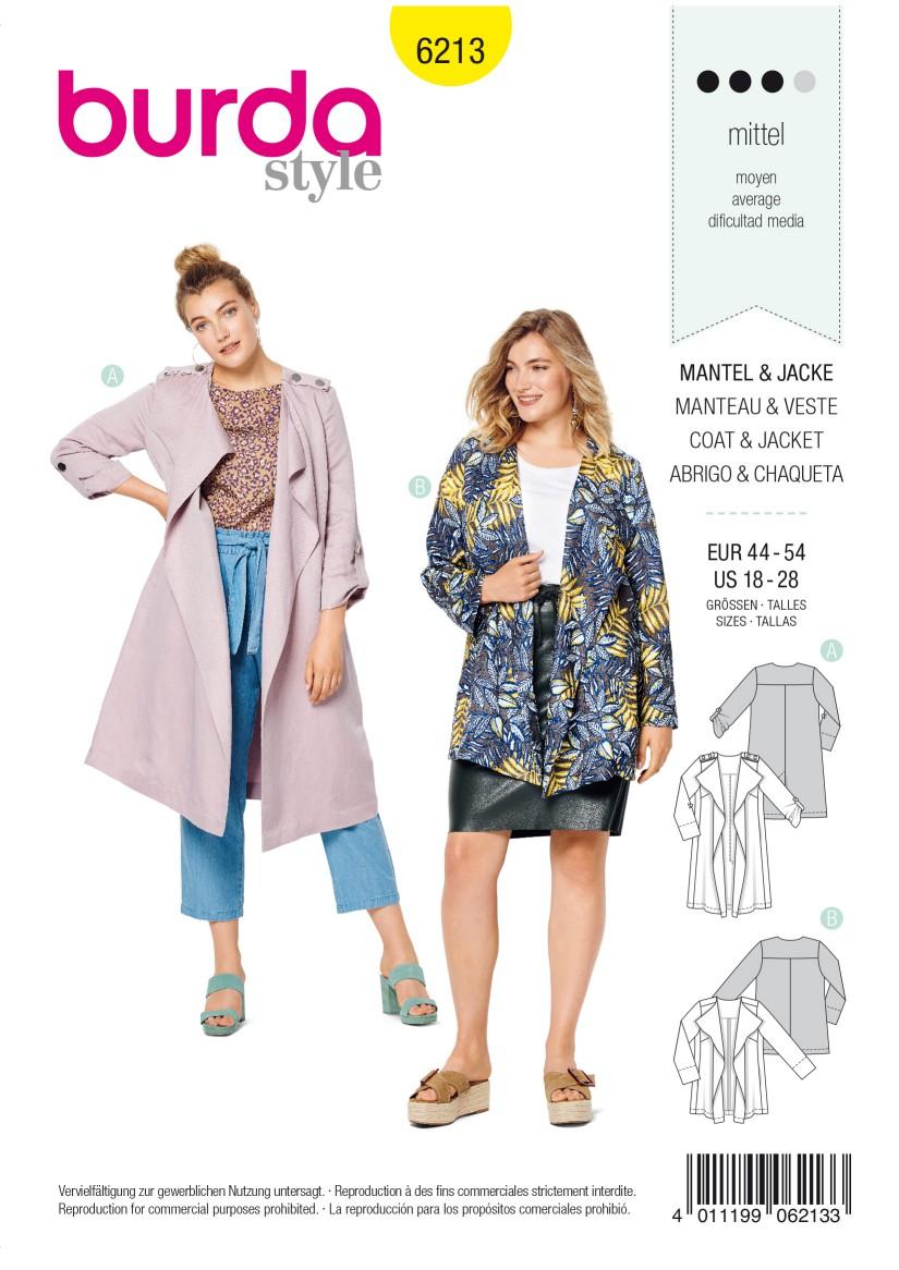 Burda Style Pattern 6213 Women's Coat without Collar or  Fastening