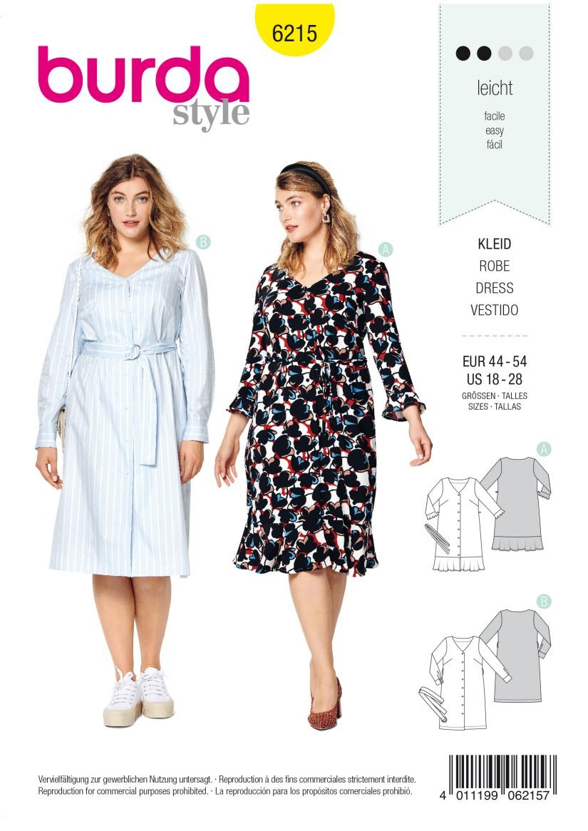Burda Style Pattern 6215 Women's Dress with Button Fastening –  V-Neck – Hem Flounce