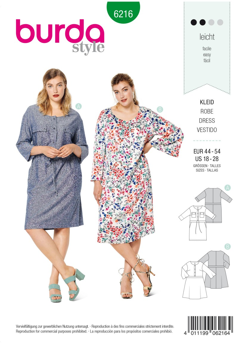 Burda Style Pattern 6216 Women's Dress with Front Button Fastening and a Band at the Waist