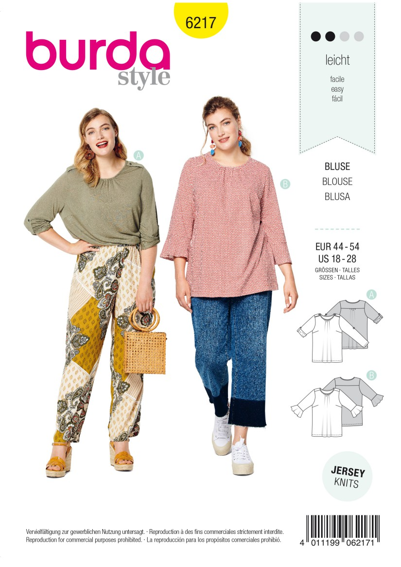 Burda Style Pattern 6217 Women's Top – Roll-up Sleeves –  Sleeves with Flounces