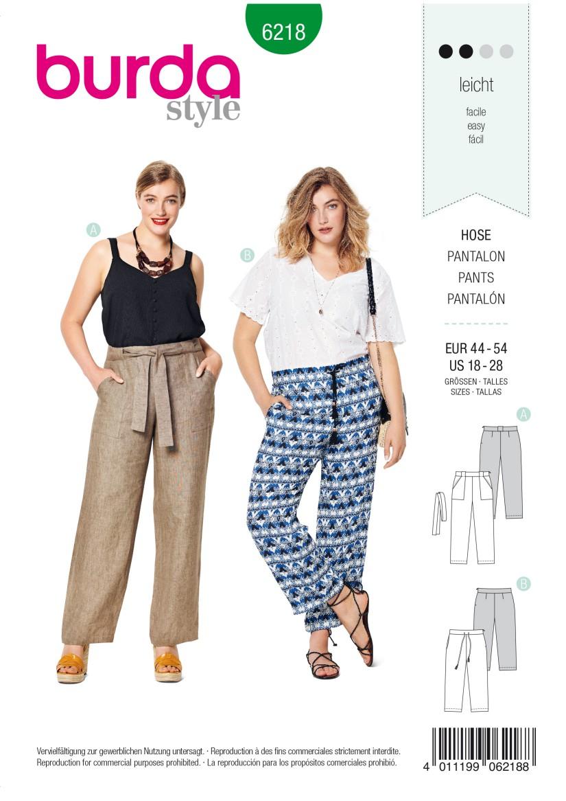 Burda Style Pattern 6218 Women's Trousers/Pants – Straight Leg –  Patch Pockets