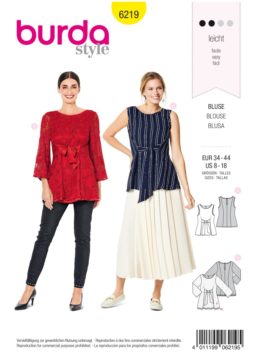 Burda Style Pattern 6219 Misses' Sleeveless Blouse – Two-layered Tunic Top – Tie Bands in Front