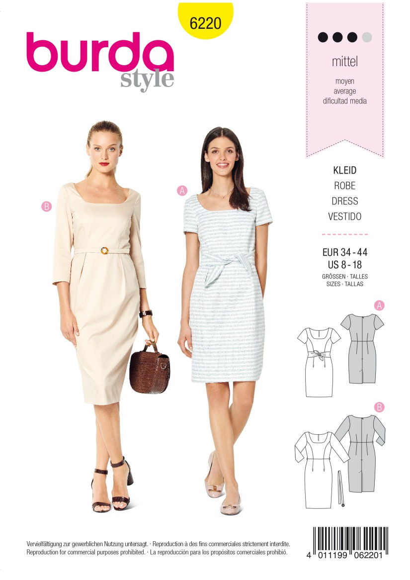 Burda Style Pattern 6220 Misses' Dress – Shift Dress – Square Neckline