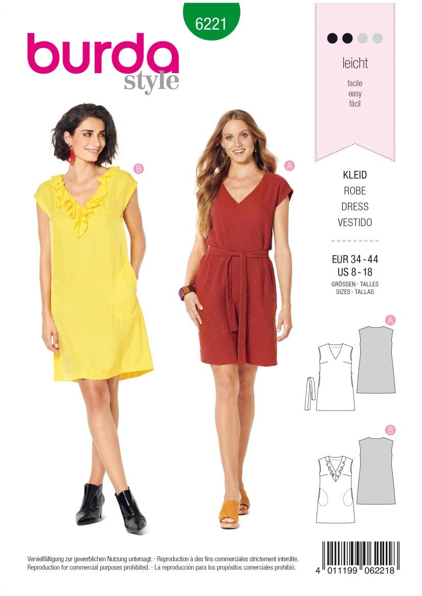 Burda Style Pattern 6221 Misses' Dress – Sleeveless – V-Neck  with Flounce – Casual Cut