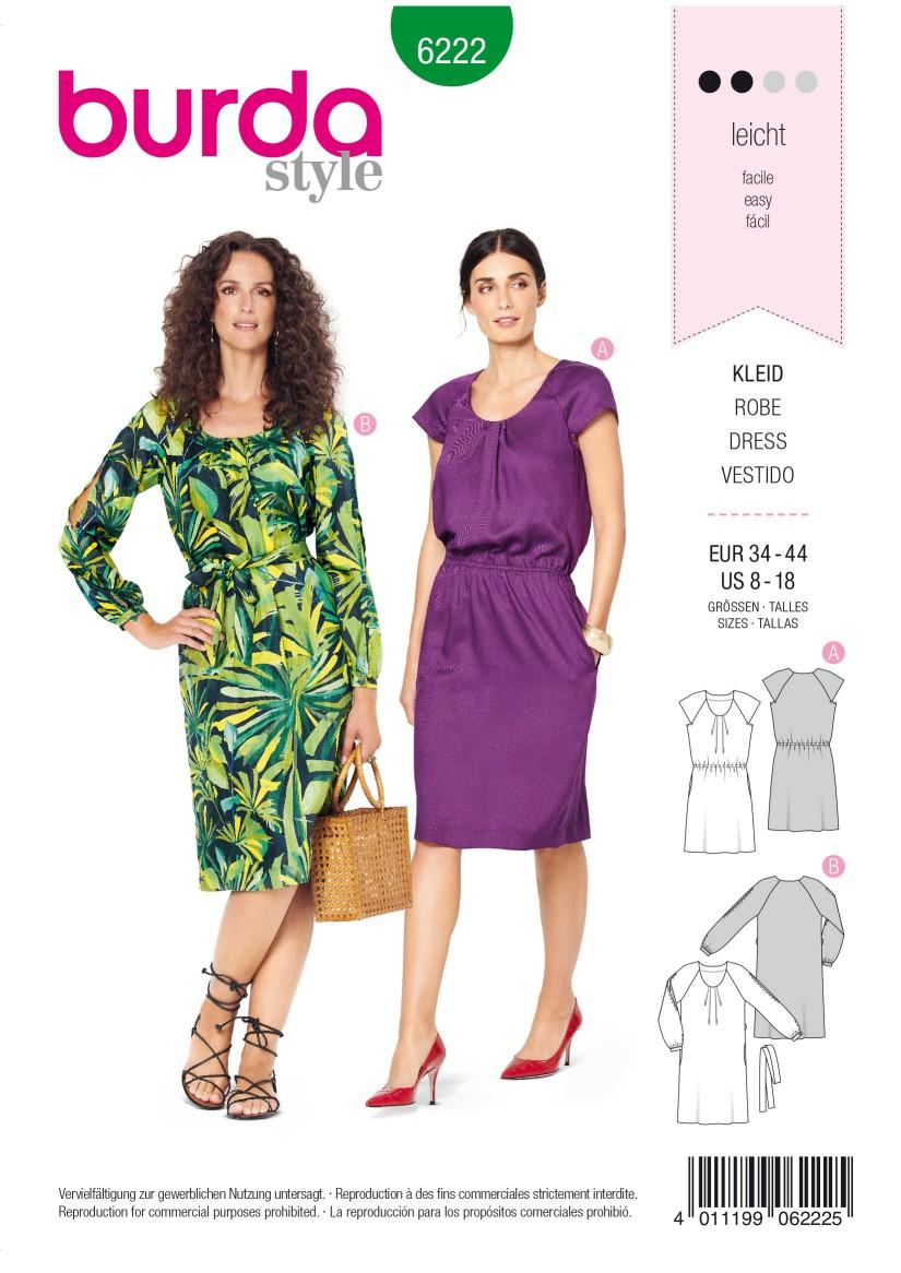Burda Style Pattern 6222 Misses' Dress with Pleats at Neckline –  Raglan Sleeves