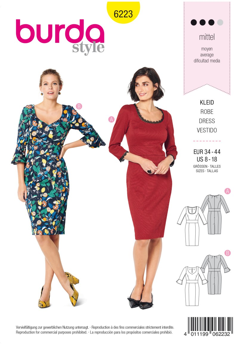 Burda Style Pattern 6223 Misses' Dress with Band at Waist –  Two Neckline Variations
