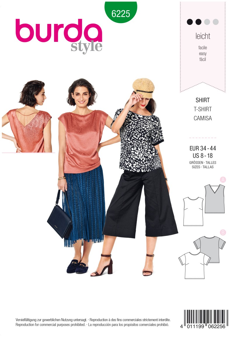 Burda Style Pattern 6225 Misses' Blouse – Top – Straight Cut