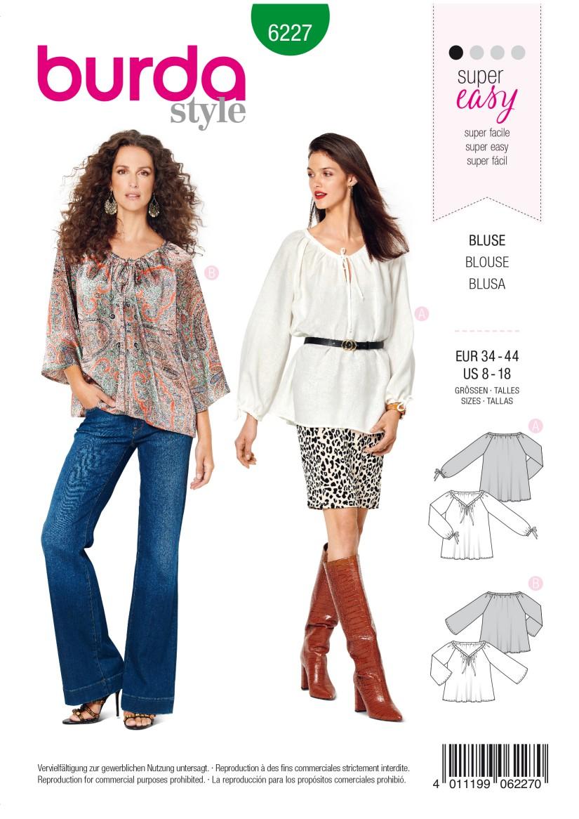 Burda Style Pattern 6227 Misses' Blouse – Carmen Blouse –  Drawstring Neckline