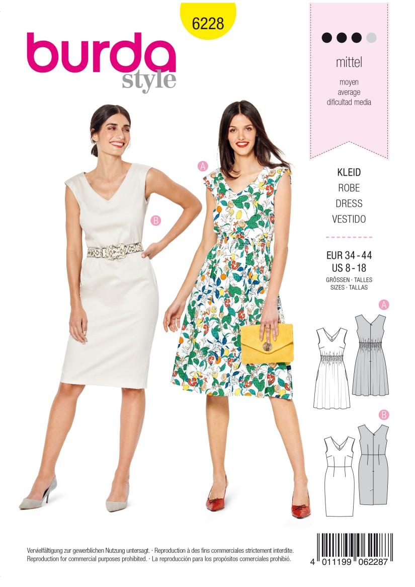 Burda Style Pattern 6228 Misses' Dress with Shirring –  Sheath Dress – V-Neck